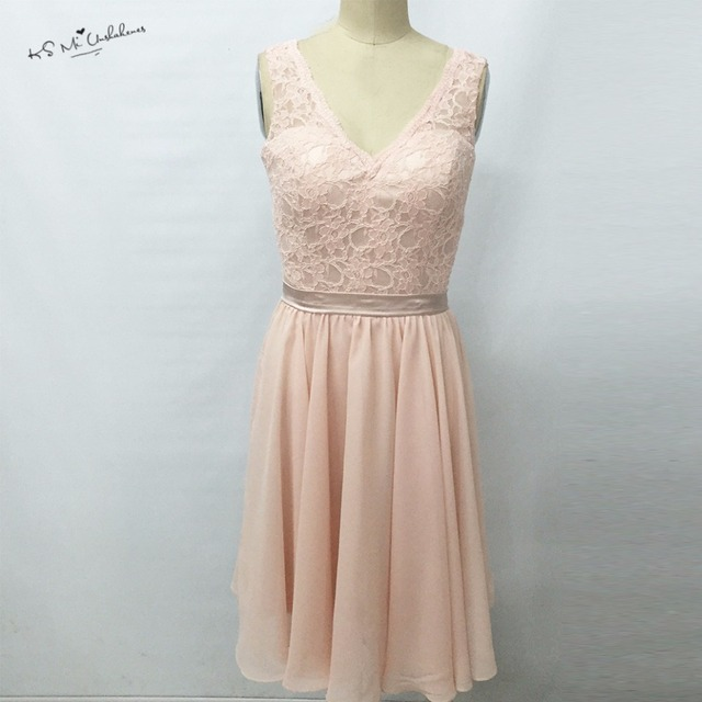 Modest Light Pink Lace Bridesmaid Dress For S 2017 Chiffon Knee Length Wedding Guest Wear V