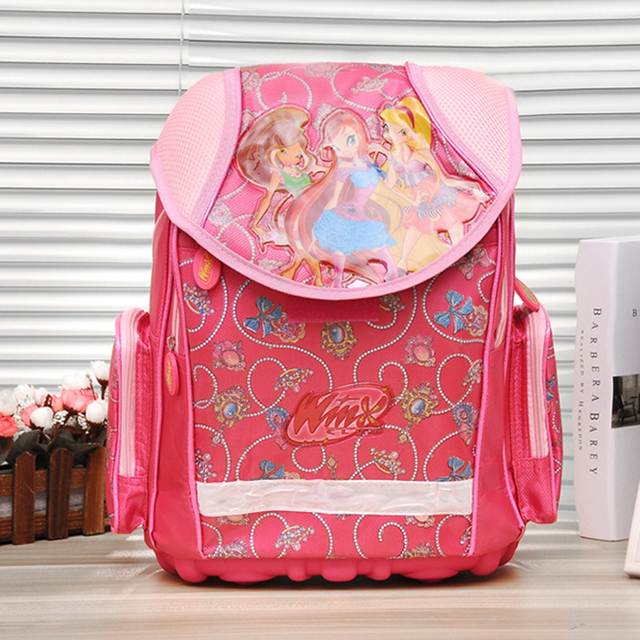New model good quality  Kids Backpack WINX EVA back with steel stand  Schoolbag Children School Bags for Girls