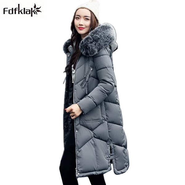 Womens winter coat thick warm winter jacket women big fur collar hooded female coats and jackets long cotton parkas large size 2017 winter new coat womens long slim hooded large fur collar thick cotton warm jacket for female zipper pattern epaulet padded