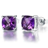 4.3ct Naturel Améthyste 925 Sterling Argent Boucles D'oreilles pour les Femmes Fine Diamant Bijoux Femmes Oreille Goujons De Noël Cadeau