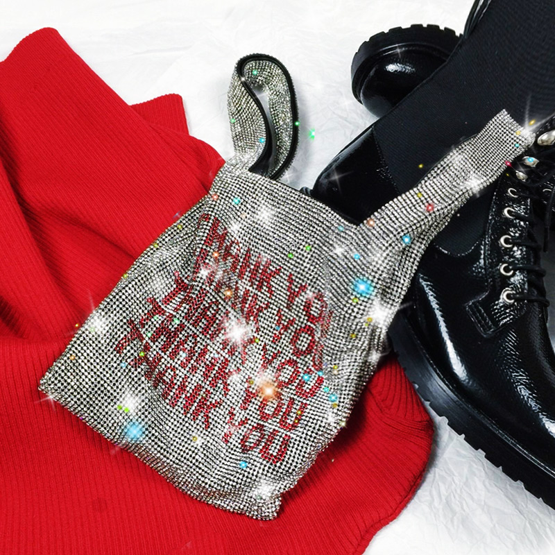 2019 Woman Shiny Crystal Handbag Purse Personality Luxury Letter Rhinestone Small Bag Double Strap Sequined Bags Accessories