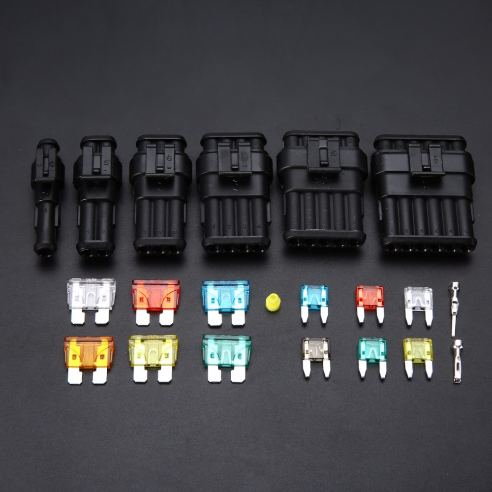 Mayitr 1 Set Waterproof Car Electrical Connector Terminal with Fuses Kit 1/2/3/4/5/6 Pin Way Automotive Wire Connector Plug 1 set  1 2 3 4 5 6  pin to choose seal