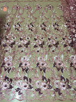 fashionable Nigerian lace fabrics french lace fabric PWD1116120 sequins african tulle laces fabrics