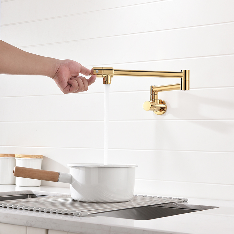 Pot Filler Tap Wall Mounted Foldable Kitchen Faucet Single Cold Single Hole Sink Tap Rotate Folding Spout Chrome Gold Brass
