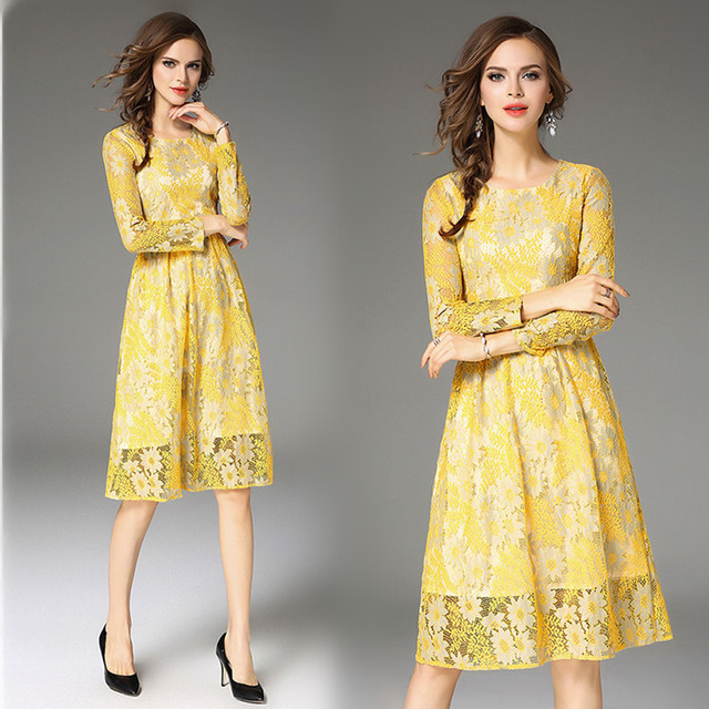 Yellow Party Dress Autumn 2017 Hollow Out Lace Midi Dresses Female