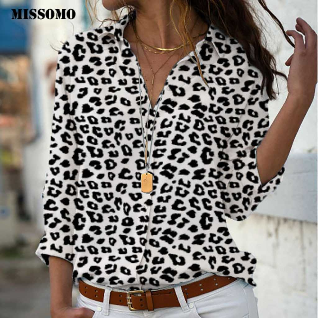 MISSOMO 5xl women t shirt Plus Size Loose Leopard Print V-neck Button shirt Pullover Tops Shirt girls clothes tee shirt femme