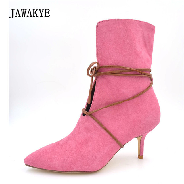JAWAKYE New Sexy Bandage Ankle Boots Women Pointed Toe V Cut-Out 7cm High Heel Shoes Woman Real leather Fashion Short Boots