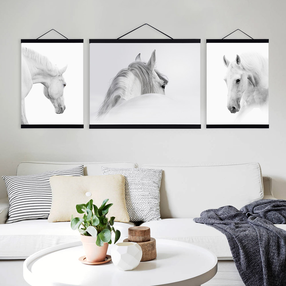 black white horse posters prints nordic style home decor living room