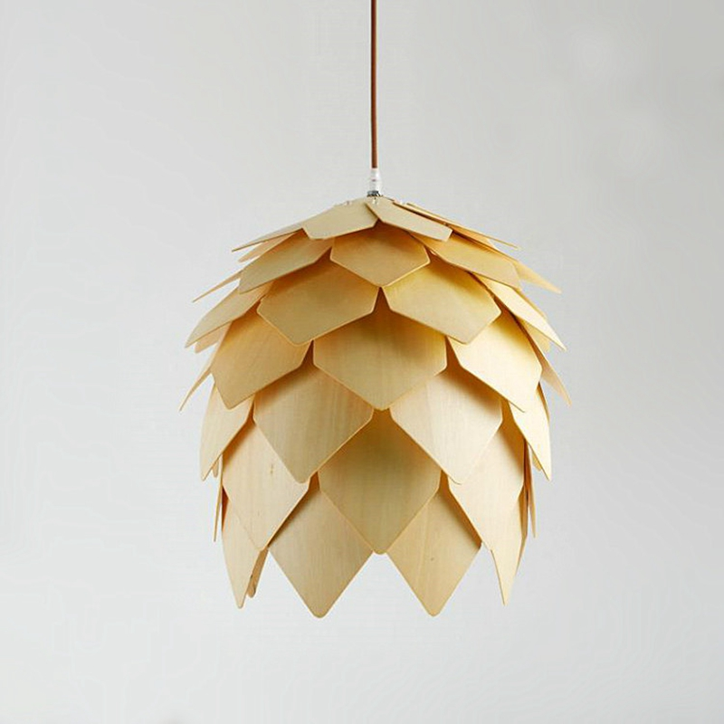 Modern Wood Pendant Lights Lamp, Dinning Room Restaurant Modern Lighting, Pinecone Lamp Shape Lustres luminaire