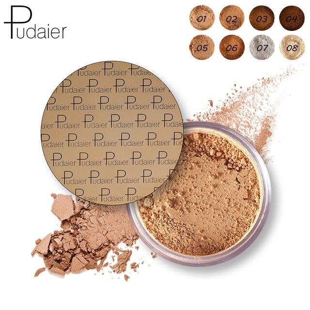 Pudaier Makeup Face Loose Powder For Women Dark Skin Long Lasting Whitening Bronzer Contour Nude Base Foundation Setting Powder