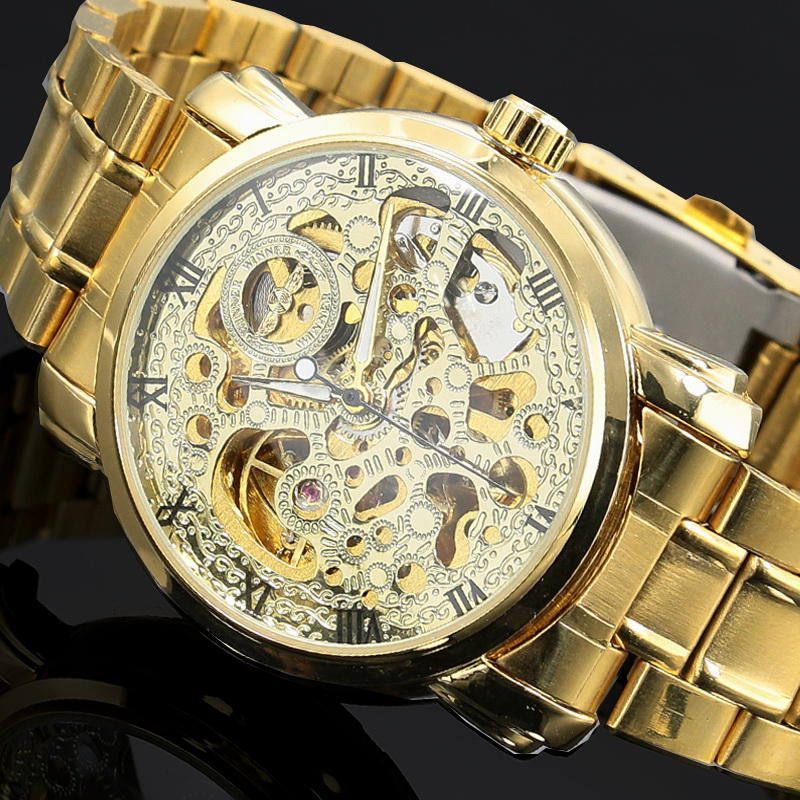 2016 New Gold Watches Luxury Top Brand Men's Fashion Automatic Hollow Out Man Mechanical Watches Waches relogio masculino gold sexy gold thread embroidery hollow out lace crop top