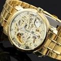 2016 New Gold relógios de luxo Top marca moda masculina automático oco fora relógios mecânicos homem Waches relogio masculino