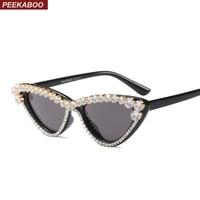 1c1311f12 Peekaboo Womens Rhinestone Sunglasses Women Cat Eye Black Party 2018 Summer  Beach Small Sun Glasses Women. Peekaboo das mulheres strass óculos ...