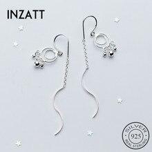 INZATT, минималистичный геометрический круглый светильник, бусины, волнистая палочка, висячие серьги, настоящее 925 пробы, серебро, хорошее ювелирное изделие для женщин, подарок