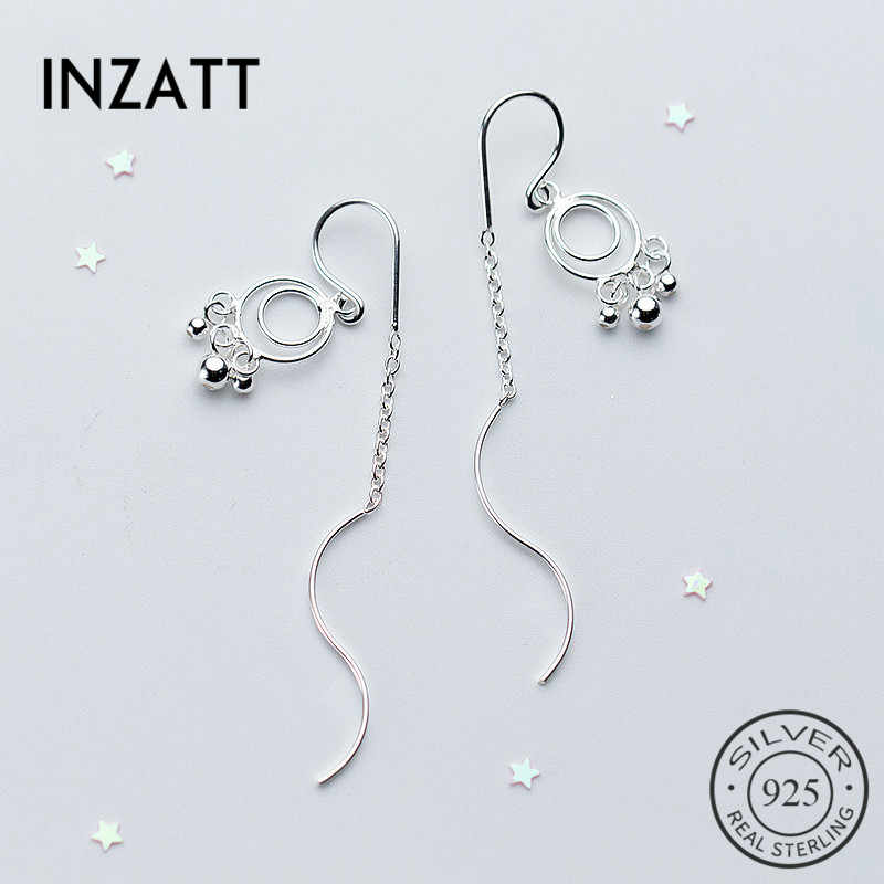 INZATT Minimalist Geometric Round Light Beads Wave Stick Bar Drop Earrings Real 925 Sterling Silver Fine Jewelry  For Women Gift