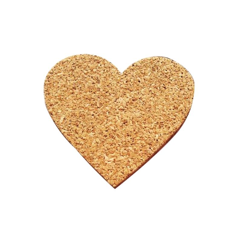 5pcs/set Heart Sharp Cork Wood Message Board Phellem Cork Wooden Bulletin Board Single Soft Wood Wall Board With Sticker