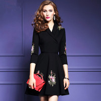 Knitting New Seven Collar Sleeve Slim Line Black Embroidery Spring Elegant Lady Flower Stitch Pattern High