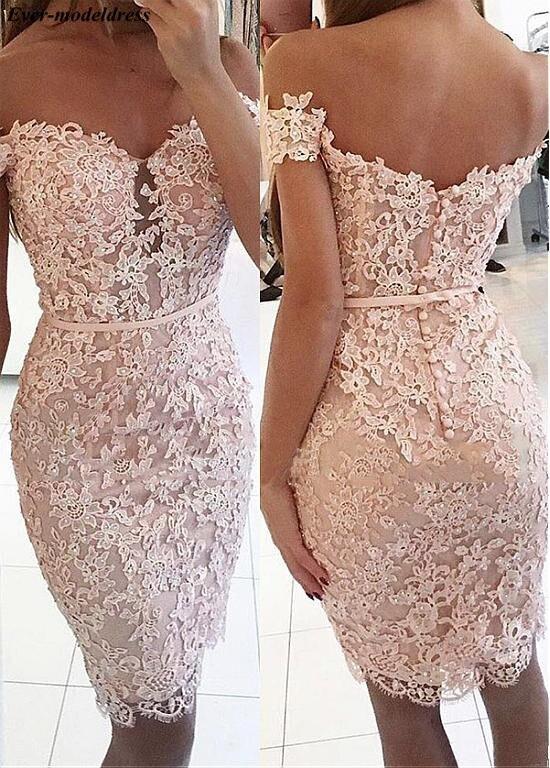 Off Shoulder 2019   Prom     Dresses   Short Lace Appliques Beaded Button Back Sashes Mini Party Gowns Vestidos De Festa Customized