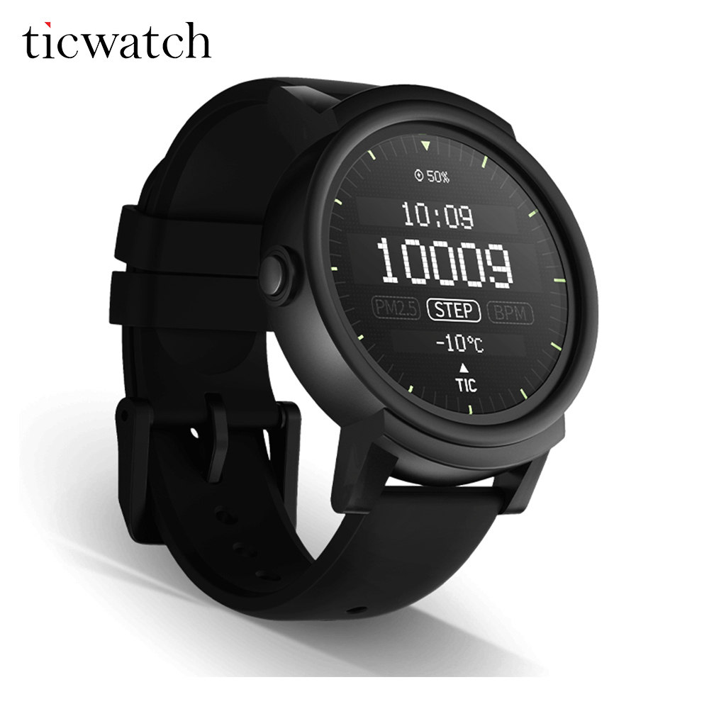 D'origine Ticwatch E Smartwatch Android Porter 2.0 Bluetooth 4.1 MTK2601 Dual Core pour iOS/Android IP67 Poussière preuve de L'eau résistant