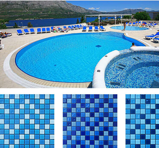 22square feet / lot Fashion glass mosaic tiles for swimming pool ...