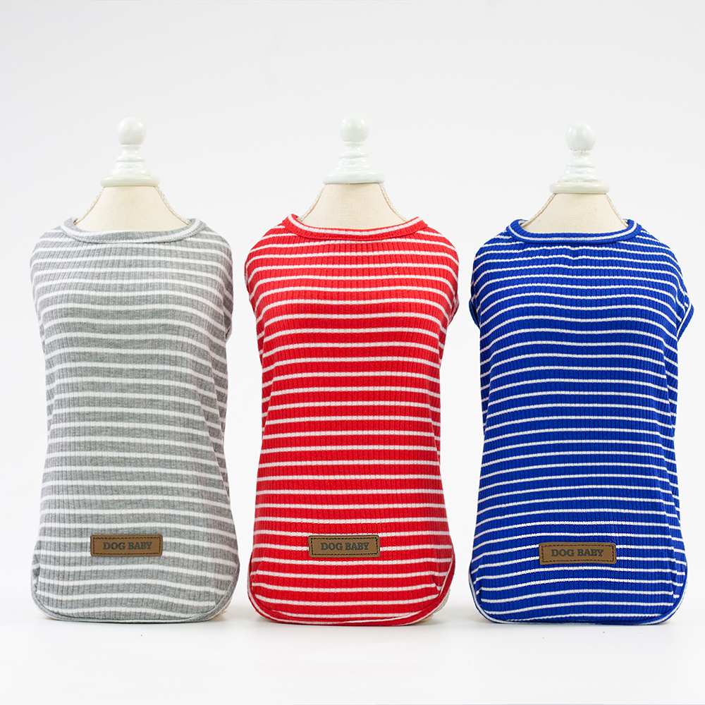 Striped Pet Clothing Costumes Puppy Dog Clothes T-Shirt Dog Shirts For Small Dog Five Color Selection Free Shipping Drop Ship