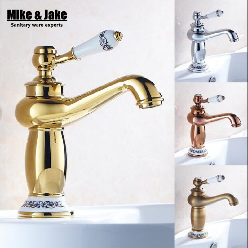 Free shipping Modern faucet Bathroom Faucet Gold finish hot & cold Brass Basin Sink Faucet Single Handle with ceramic taps весы кухонные tefal bc5008v0