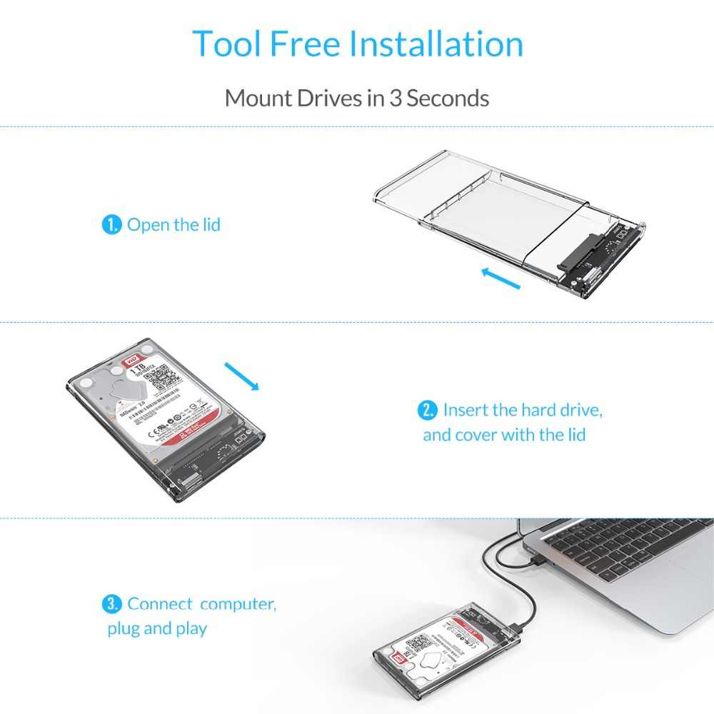 Orico HDD 2.5 Trong Suốt SATA Sang USB 3.0 Bên Ngoài Ổ Cứng Cho 7 Mm/9.5 Mm SSD Đĩa HDD UASP SATA III