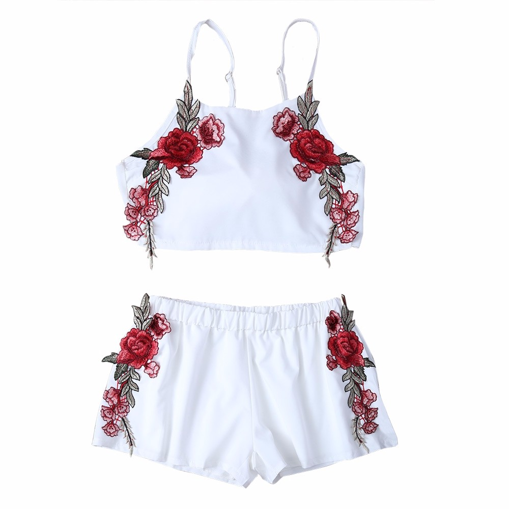 AZULINA Summer Casual Two piece Floral Embroidery White Twinset Crop Top Bowknot Hot Pants Shorts Women Set tank top 2017 Beach 8