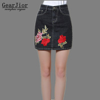 2017 New Hot Sale Women S Spring Autumn Winter Dark Gray Embroidery Cowboy Skirts Femal Summer