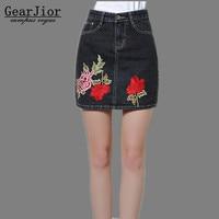 2017 New Hot Sale Women S Spring Autumn Winter Dark Gray Embroidery Cowboy Skirts Femal Summer