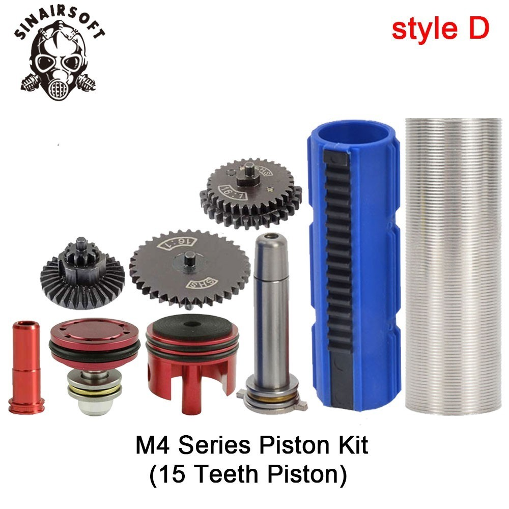 SHS-16-1-Gear-Nozzle-Cylinder-Spring-Guide-14-Teeth-Piston-Kit-Fit-Airsoft-M4-M16 (3)