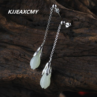 ebbc389d55cc KJJEAXCMY S925 Handmade Sterling Silver Jewelry Fashion Lady Jade Orchid Hetian  Jade Earrings. Kjjeaxcmy s925 plata ...