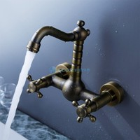 AZOS Antique Inspired Bathroom Sink Faucet Antique Brass Finish Wall Mount Faucet Hot And Cold Water
