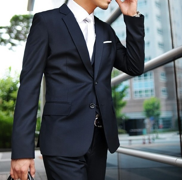 Custom Made Dark Blue Men Suit Tailor Bespoke Navy Wedding Suits For Slim Fit Groom Tuxedos In From S Clothing