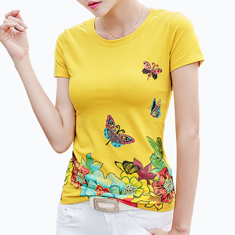 T Shirt For Women Femme Tees 2018 Summer New Short Sleeves Womens T-Shirt Beading Floral Print O-Neck Slim Woman Clothing Mujer