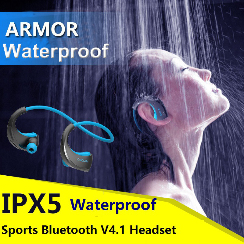 DACOM Armor G06 IPX5 Waterproof Sports Headset Wireless Bluetooth V4.1 Earphone Ear-hook  Headphone with Mic For iphone samsung wireless headphones v4 1 bluetooth earphone stealth sports headset ear hook earpiece with mic for iphone 7 7s samsung xiaomi