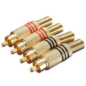 LEORY 4 قطعة الذهب مطلي RCA موصل التوصيل الصوت الذكور موصل مع الربيع كابل حامي