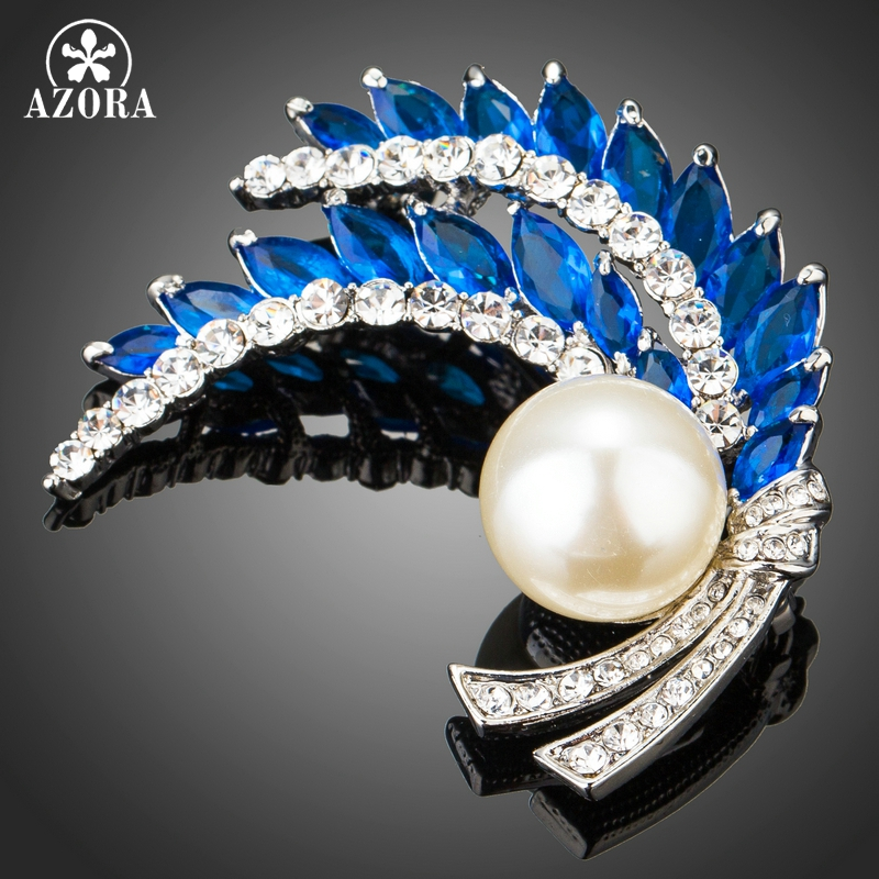 цена на AZORA Clear Rhinestone Leaves Brooch Blue Cubic Zirconia Simulated Pearl Fashion Pins for Women Bridal Wedding Party Prom TP0079