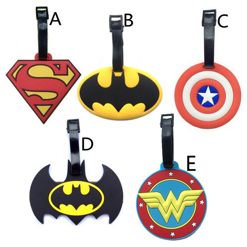 2017 New Batman Superman Captain America Luggage Tags Silicone Girls Suitcase/Handbag Label PVC Marvel Heroes Travel Accessories