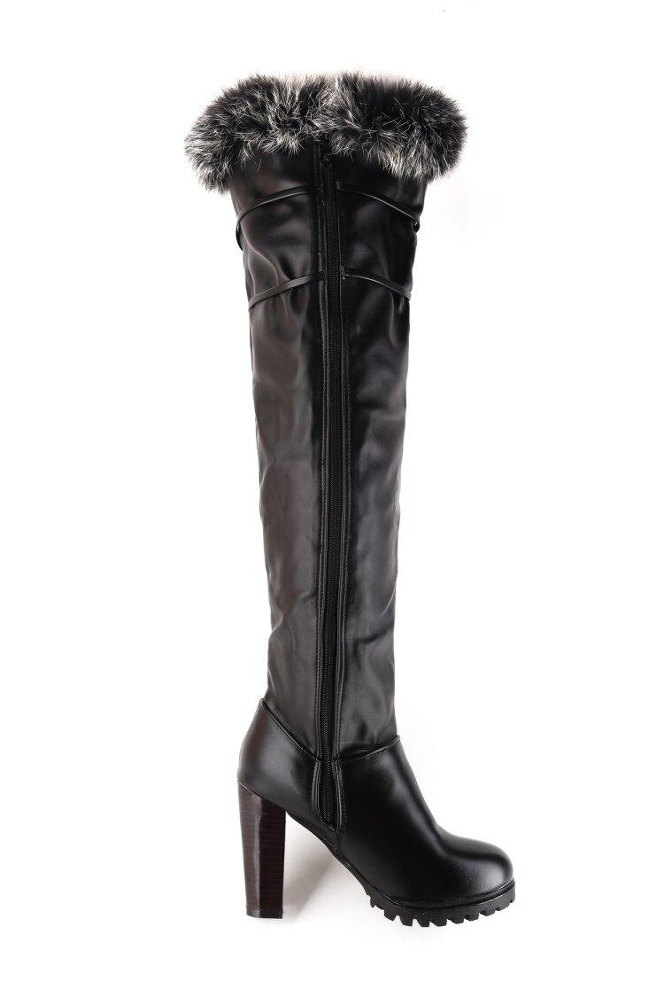 Mujer Cuero Fino Botas 2016 T703 Tacones Zapatos De Ocio Invierno blanco Punta Calientes Nuevas Negro Nieve 6 Alto Redonda Tacón Elegantes vZZdaw