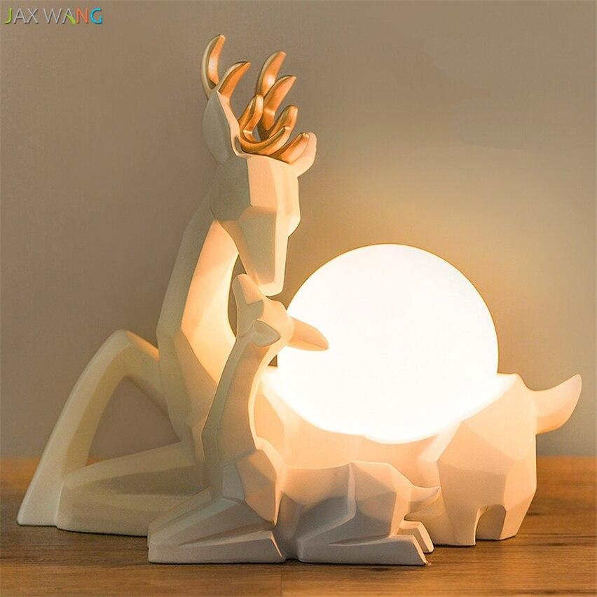 Moderna Origami Carino Alci lampade Da Tavolo Luci notturne per la camera Della Principessa Lampada da Tavolo Per Bambini In Camera Decorazione Scrivania luci Di Natale