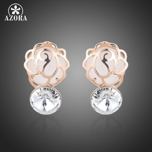 AZORA Rose Gold Color Opal Stone cover with Hollow Flower and Clear Stellux Austrian Crystal Stud Earrings for Women TE0235(China)