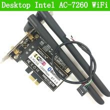 PCI Express 7260AC 2.4G/5G Dual Band 7260HMW 867 Mbps ไร้สาย PCI E Wi Fi บลูทูธ 4.0 7260 WIFI การ์ดเดสก์ท็อป AC 7260 WLAN