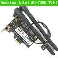 PCi Express 7260AC 2.4G/5G de Doble Banda 7260HMW 867 Mbps PCI-E inalámbrico Wi-Fi Bluetooth 4.0 7260 Escritorio TARJETA WIFI WLAN AC-7260