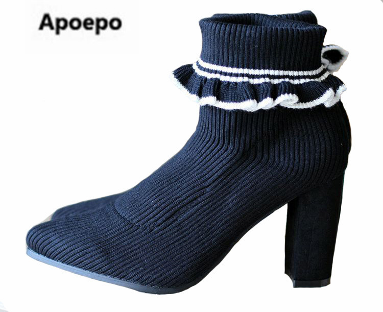 Apoepo brand boots white black ruffles winter shoes high heels ankle boots for women stretch fabric boots Limited sales boots
