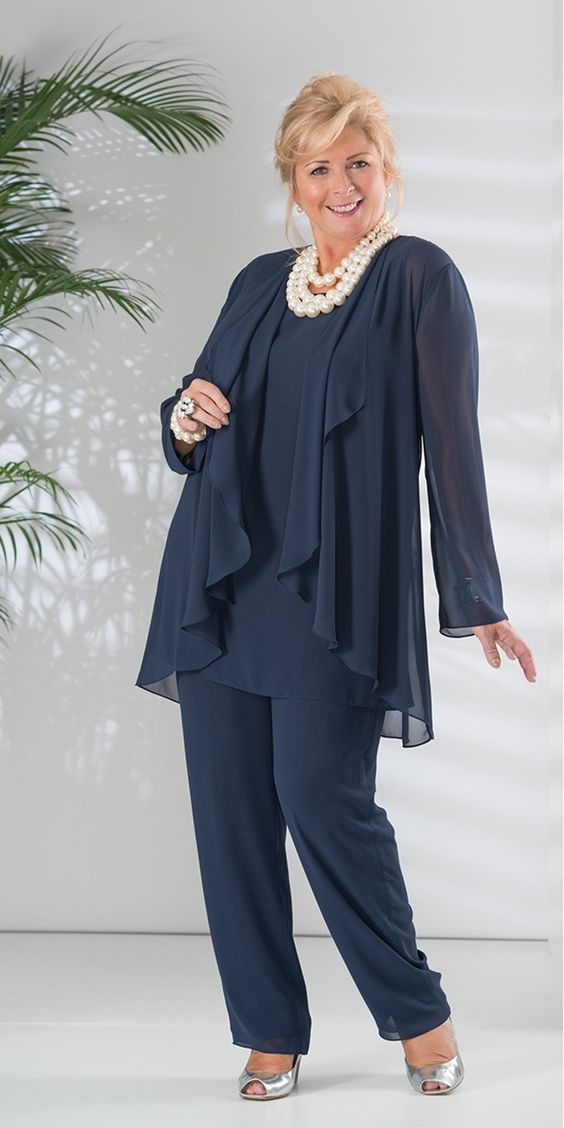 Plus Size Navy Blue Mother Of Dresses Pant Suit Long Sleeve Chiffon Jacket Groom Wedding Party Dress Vestido Mae Noiva In The Bride