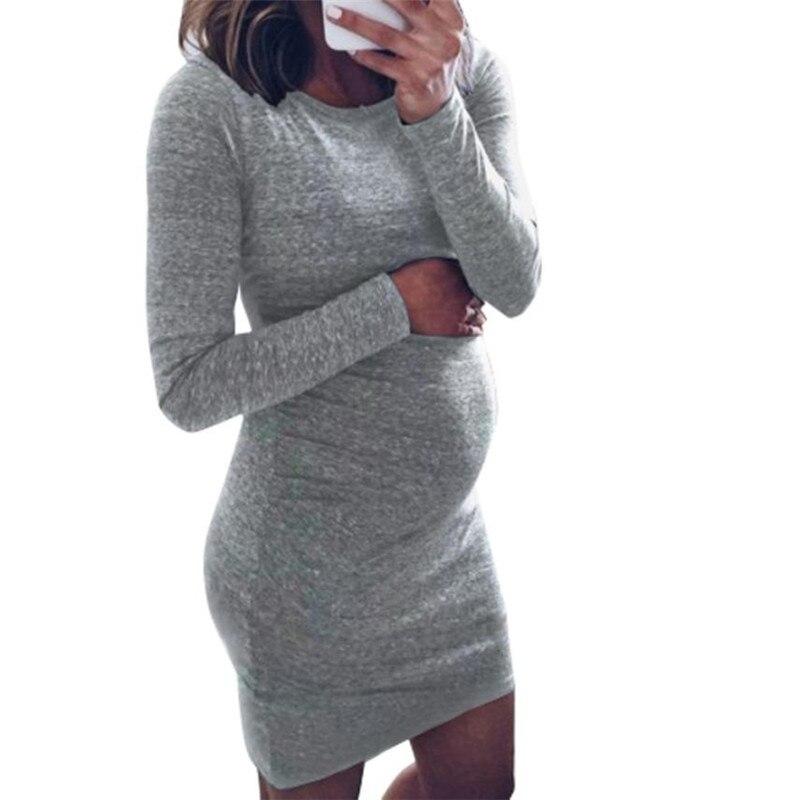 wholesale drop shipping Fashion Women Pregnants O-Neck Long Sleeve Nursing Baby For Maternity Mini Dress Fashion casual S3JUN11