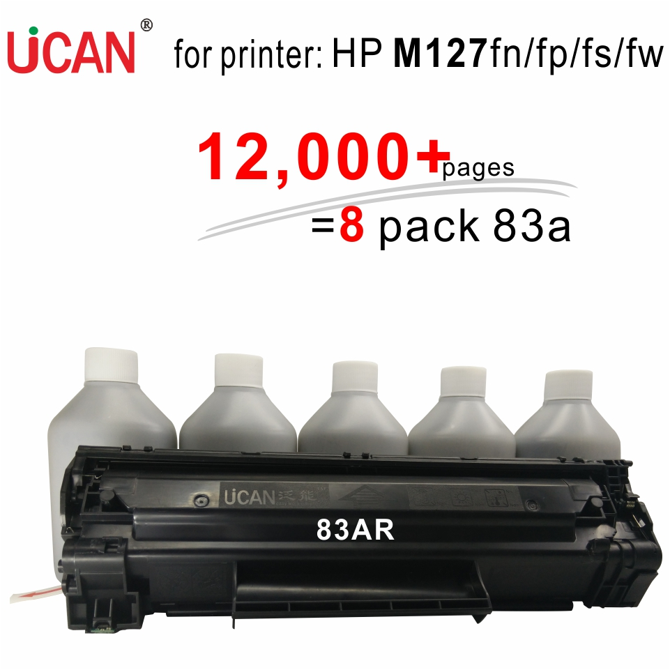 for HP LaserJet Pro MFP M127fn M127fp M127fs M127fw Printer UCAN 83AR(kit) 12,000 pages equal to 8-Pack CF283a toner cartridges 4x non oem toner refill kit chips compatible for hp 130a 130 cf350a cf353a color laserjet pro mfp m176 m176n m177 m177fw