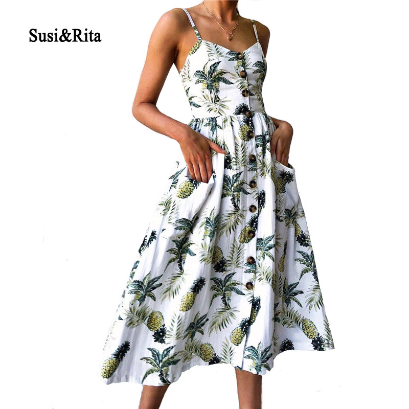 Susi&Rita Floral Summer Beach Dress Women 2018 Vintage Spaghetti Strap Party Dress Sexy Bohemian Dresses Vestidos Robe Femme