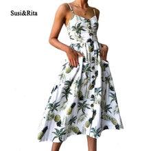 Суси & Рита цветочный летний пляжное платье Для женщин 2018 Винтаж Спагетти ремень вечерние платье пикантные Наряды бохо платье vestidos Femme